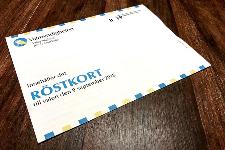 Röstkortet för svenska valet 2018, Fotograf Alexander Nyberg