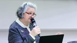 Överläkare Malgorzata Szmidt vid pykiatriveckan i Uppsala. Foto Tua Lilja