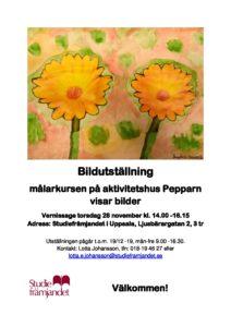 Bildutställning - Målerikursen på aktivitetshus pepparn visar bilder @ Studiefrämjandet, Uppsala